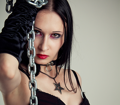 Strict domination mistress with chains